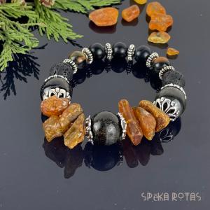 Raw amber bracelet with tiger eye
